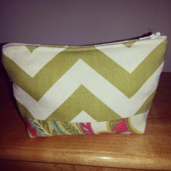 Medium Green Chevron Make-up Pouch