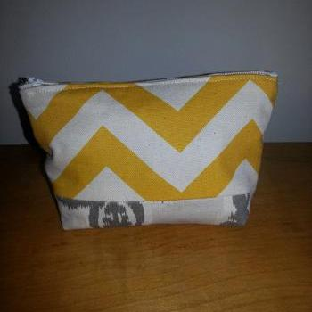 Medium Yellow Chevron Make-up Pouch